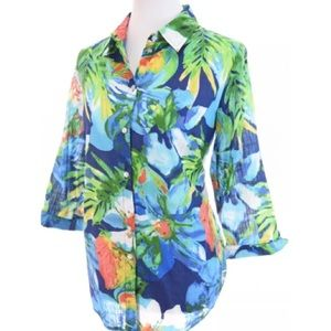 Allison Daley Colorful Hawaiian Button Up Sz 12